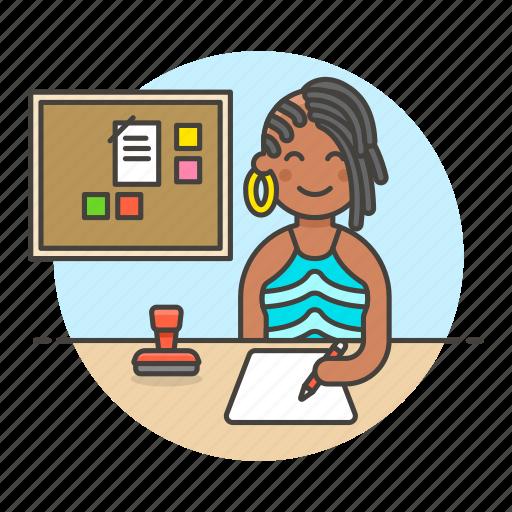 1, board, bulletin, desk, document, employee, female, half, job, office, paper, pen, planner, stamp, work, write icon