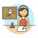 job, paper, office, desk, document, write, employee, pen, planner, board, female, half, stamp, work, bulletin