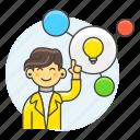 bulb, connect, creative, creativity, female, idea, light, plan, solution, thinking, work icon