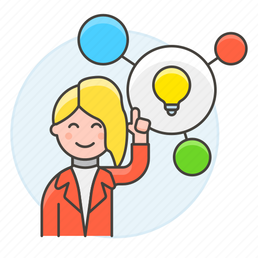 2, bulb, connect, creative, creativity, female, idea, light, plan, solution, thinking, work icon
