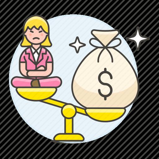 1, bag, balance, cash, female, heavy, life, money, personal, scale, unbalanced, unhappy, work icon