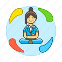 balance, equilibrium, female, life, meditate, meditating, work, zen icon