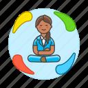 1, balance, equilibrium, female, life, meditate, meditating, work, zen icon