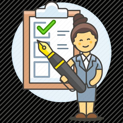check, checklist, checkmark, clipboard, complete, employee, female, list, pen, task, woman, work icon