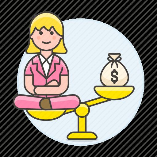 1, bag, balance, cash, female, happy, heavy, life, money, personal, scale, unbalanced, work icon