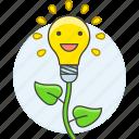 bulb, creative, creativity, develop, flower, growth, idea, light, plant, work icon