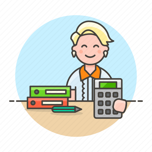 accountant, bookkeeper, calc, desk, female, folder, half, job, office, pen, pencil, sit, work icon