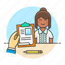 applicant, aspirant, check, clipboard, female, file, hiring, human, interview, resources, work icon