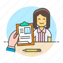 resources, file, female, aspirant, clipboard, work, human, applicant, interview, check, hiring icon