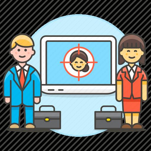 employee, hiring, human, laptop, recruit, recruiting, resources, search, selection, target, work icon