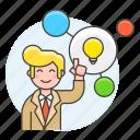 light, plan, creativity, creative, connect, idea, work, bulb, male, thinking, solution icon