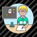 board, bulletin, desk, document, employee, half, job, male, office, paper, pen, planner, stamp, work, write
