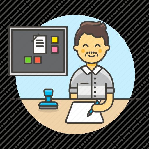 2, board, bulletin, desk, document, employee, half, job, male, office, paper, pen, planner, stamp, work, write icon
