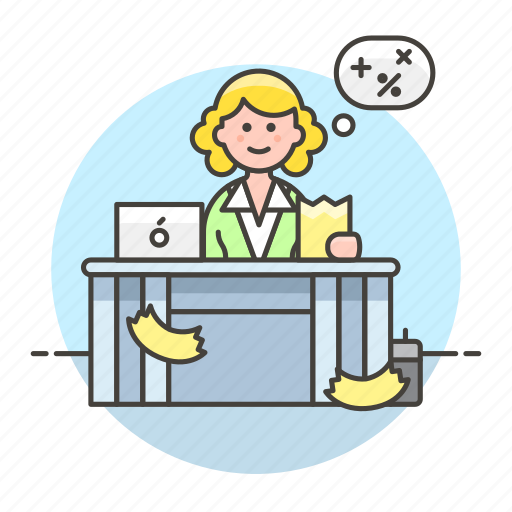 accountant, bookkeeper, calc, desk, female, job, laptop, math, office, paper, print, sit, work icon