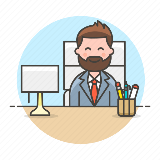 boss, chair, desk, half, job, lamp, male, office, pen, pencil, sit, supplies, work icon