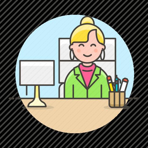 1, boss, chair, desk, female, half, job, lamp, office, pen, pencil, sit, supplies, work icon