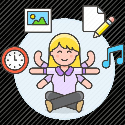 balance, clock, entertainment, female, life, multitask, multitasking, music, paper, task, time, work icon