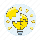 assembly, bulb, ideas, light, lightbulb, puzzle, solve, work icon