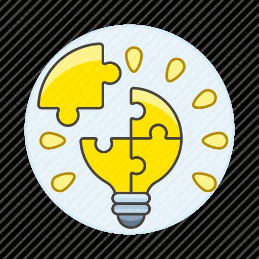 assembly, bulb, ideas, light, lightbulb, puzzle, solve, work icon