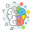 art, brain, brainstorming, cretivity, left, logic, math, right, science, sides, work icon