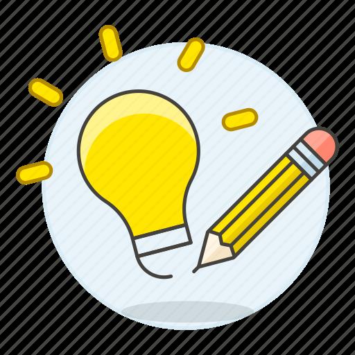 bulb, draw, idea, ideas, light, pencil, sketch, sketching, work icon