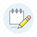 edit, mini, note, notebook, notepad, paper, pencil, sheet, work icon