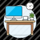 coffee, computer, cup, desk, imac, mac, pc, plant, pot, work, workspace icon