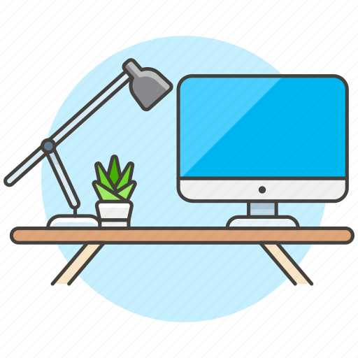 computer, desk, display, imac, lamp, mac, pc, plant, pot, work, workspace icon