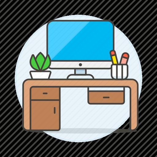 computer, desk, drawer, imac, mac, office, pc, plant, pot, supplies, work, workspace icon