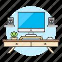 computer, desk, drawer, imac, mac, pc, plant, pot, speaker, work, workspace icon
