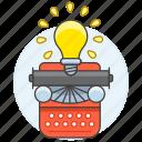 bulb, down, idea, ideas, light, record, solution, typewriter, typewritter, work, write icon