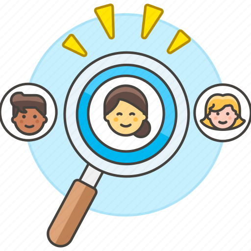 employee, glass, hiring, human, magnify, magnifying, resources, search, searching, selection, work icon