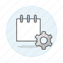 adjustments, mini, note, notebook, notepad, paper, preferences, settings, sheet, work icon