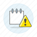 alert, exclamation, mark, mini, note, notebook, notepad, paper, sheet, work icon