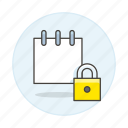 lock, mini, note, notebook, notepad, paper, private, sheet, work icon