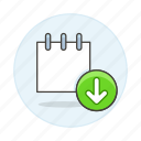 download, mini, note, notebook, notepad, paper, sheet, sync, work icon