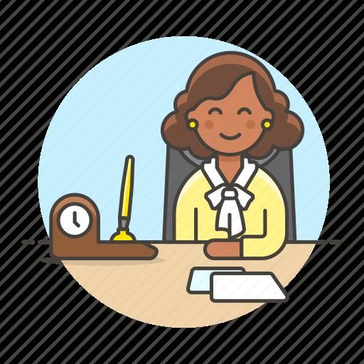 1, boss, chair, clock, desk, female, half, job, office, pen, phone, set, sit, work icon