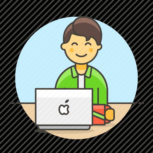 2, coffee, desk, employee, freelance, half, home, job, laptop, male, notebook, office, sit, work icon
