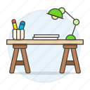 art, desk, drawing, lamp, paper, sketch, supplies, table, work, workspace icon