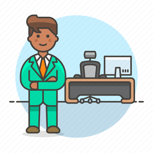 1, apparel, boss, chair, desk, job, mac, male, office, pc, spinny, stand, suit, swivel, uniform, work icon