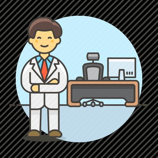 2, apparel, boss, chair, desk, job, mac, male, office, pc, spinny, stand, suit, swivel, uniform, work icon