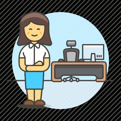 apparel, boss, chair, desk, female, job, mac, office, pc, spinny, stand, suit, swivel, uniform, work icon