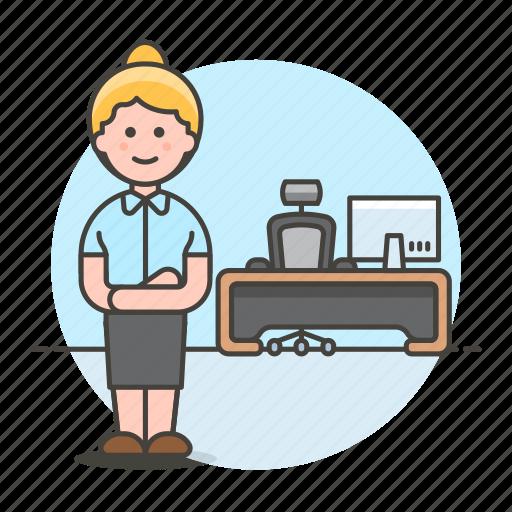 1, apparel, boss, chair, desk, female, job, mac, office, pc, spinny, stand, suit, swivel, uniform, work icon