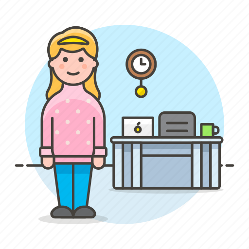 chair, coffee, desk, employee, female, freelance, home, job, laptop, office, stand, work icon