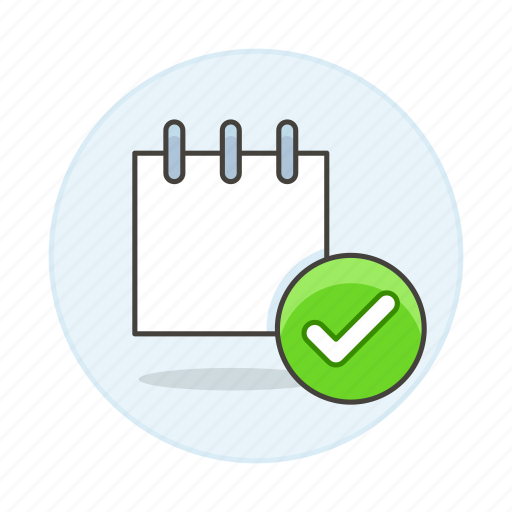 check, checkmark, mini, note, notebook, notepad, paper, sheet, synced, work icon
