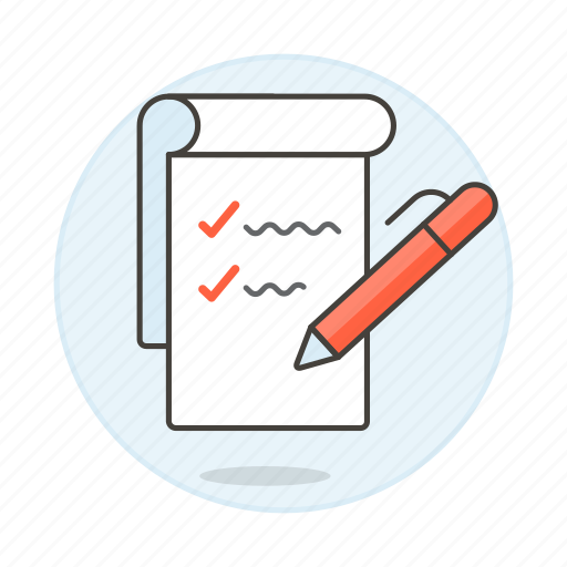 checklist, checkmark, complete, do, document, list, pen, task, things, to, work icon