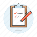 checklist, checkmark, clipboard, complete, do, list, pen, task, things, to, work icon