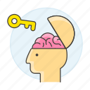 brain, braincase, creativity, key, open, potential, unlock, work icon