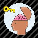 2, brain, braincase, creativity, key, open, potential, unlock, work icon