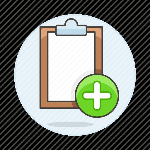 add, clipboard, paper, task, work icon